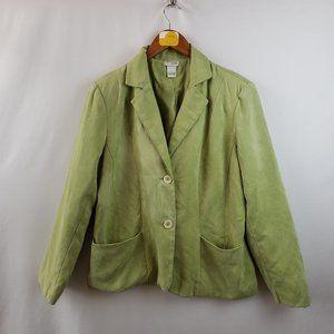 Kim Rogers 2 Button Blazer Faux Suede Sz L Green